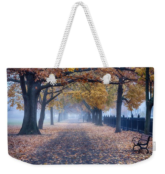 Weekender Tote Bag featuring the photograph A Walk In Salem Fog by Jeff Folger