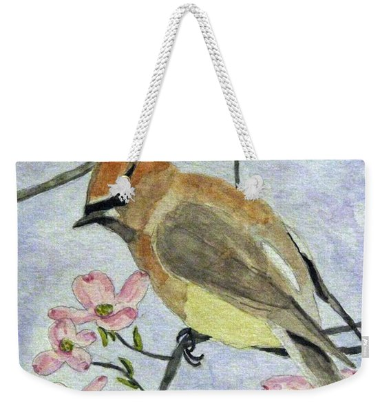 A Waxwing In The Dogwood Weekender Tote Bag