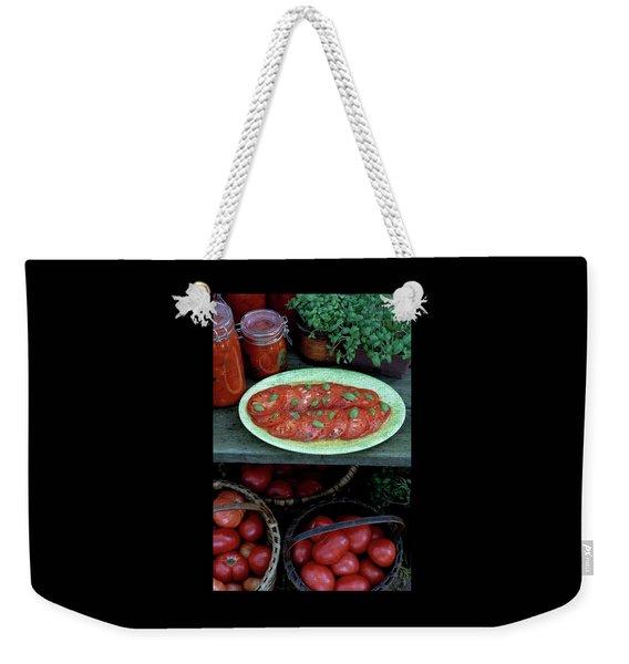 A Wine & Food Cover Of Tomatoes Weekender Tote Bag