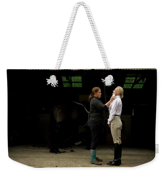 A Woman Gets Her Dress Shirt And Tie Weekender Tote Bag