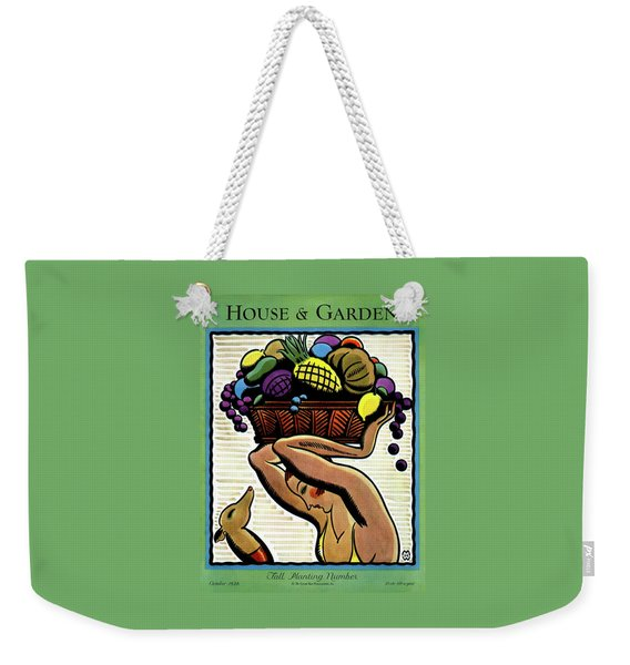 A Woman Holding A Basket Of Fruit Weekender Tote Bag