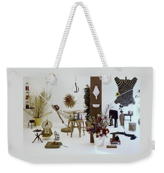 A Woman In A Hammock And Porch Furniture Weekender Tote Bag
