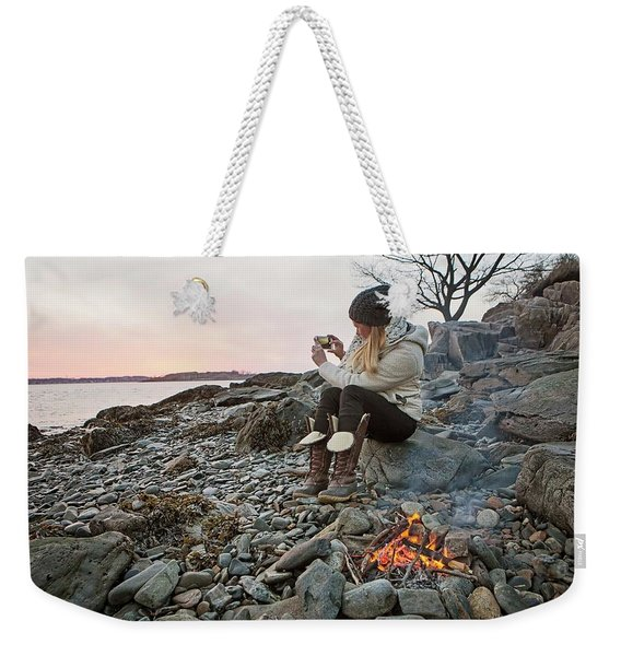 A Woman Takes A Cell Phone Picture Weekender Tote Bag