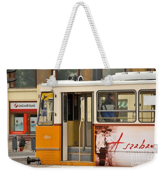 A Yellow Tram On The Streets Of Budapest Hungary Weekender Tote Bag