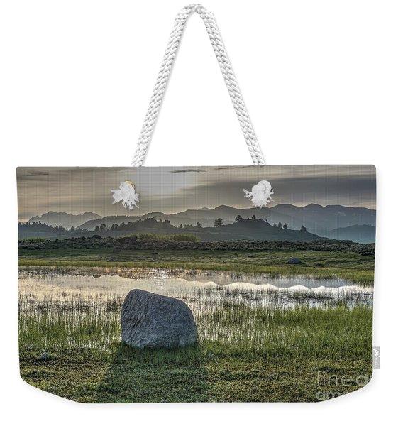 A Yellowstone Sunrise And Hazy Morning Ridges Weekender Tote Bag