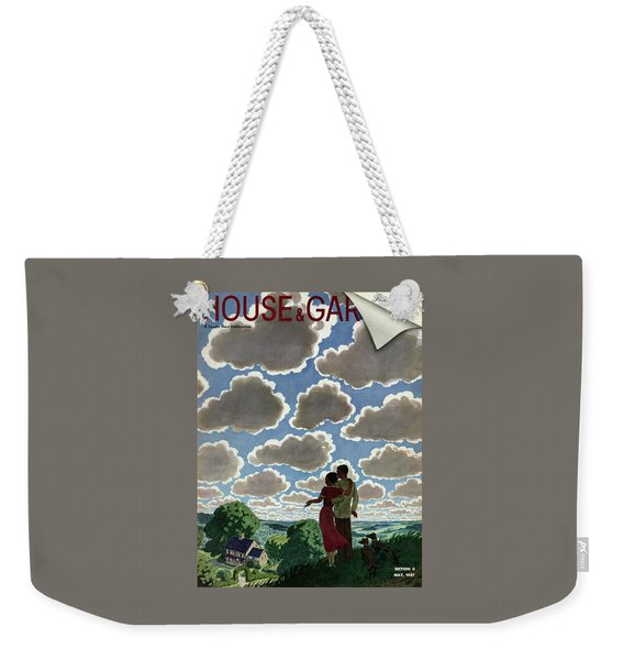A Young Couple And Their Dogs On A Hilltop Weekender Tote Bag