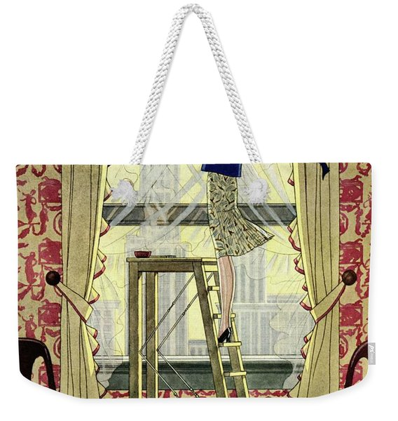 A Young Matron Adjusting Curtains Weekender Tote Bag