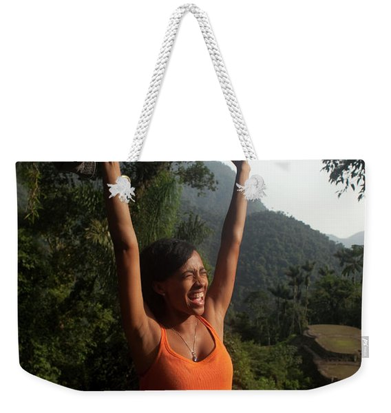 A Young Woman Screams For Joy At An Weekender Tote Bag