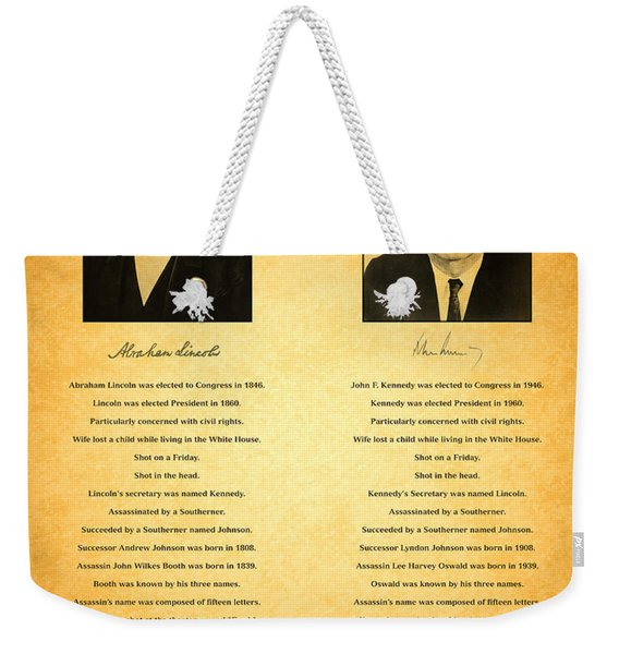 Abraham Lincoln And John F Kennedy Presidential Similarities And Coincidences Conspiracy Theory Fun Weekender Tote Bag