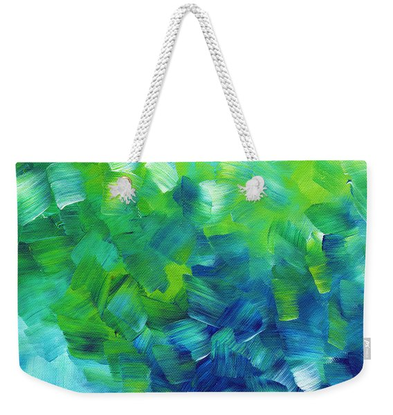 Abstract Art Original Textured Soothing Painting Sea Of Whimsy I By Madart Weekender Tote Bag