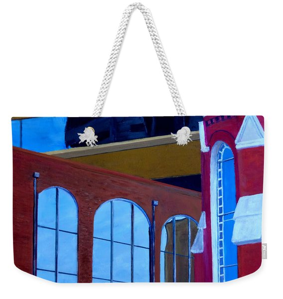 Abstract City Downtown Shreveport Louisiana Urban Buildings And Church Weekender Tote Bag