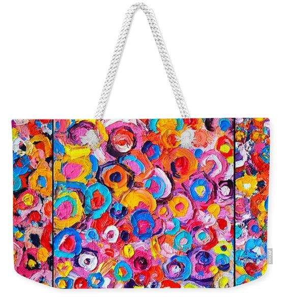Abstract Colorful Flowers Triptych  Weekender Tote Bag