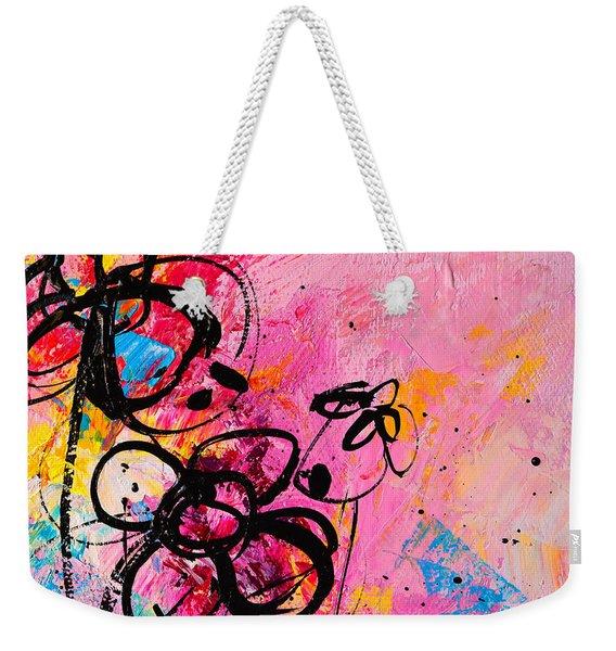 Abstract Flowers In Hot Pink 1 Weekender Tote Bag
