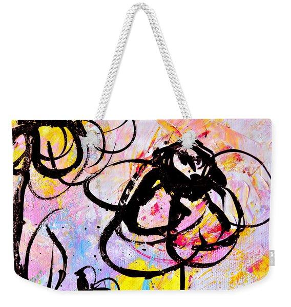 Abstract Flowers In Pink 3 Weekender Tote Bag