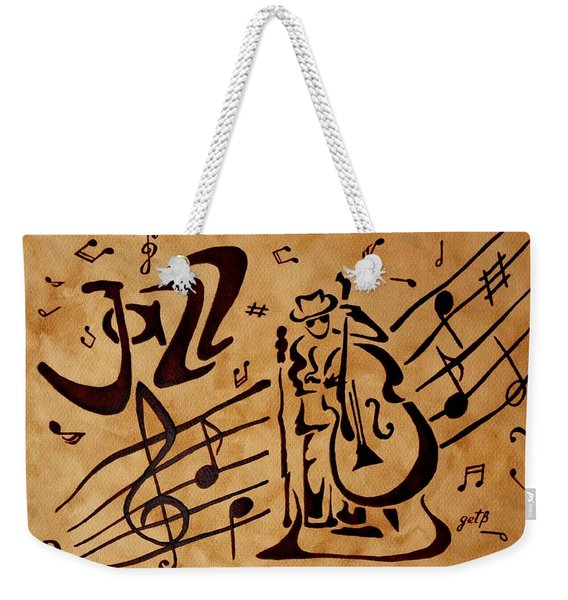 Abstract Jazz Music Coffee Painting Weekender Tote Bag