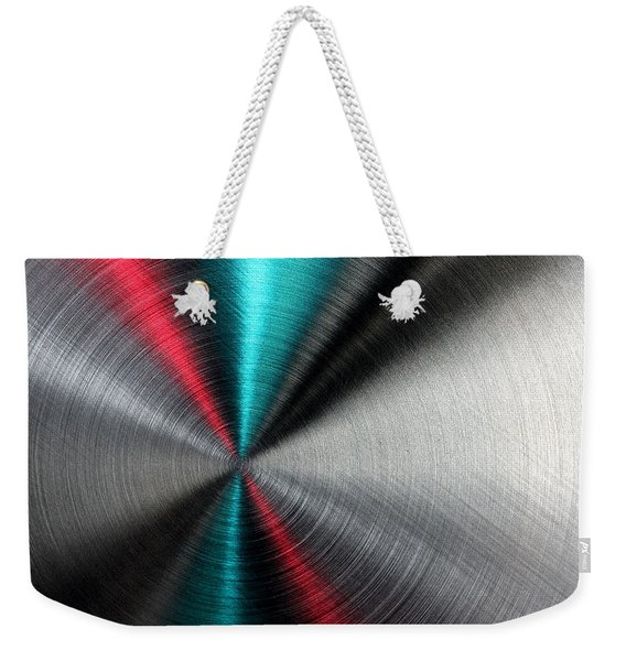 Abstract Metallic Texture With Blue And Red Ray Pattern. Weekender Tote Bag