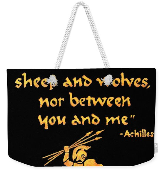 Achilles Admonition Weekender Tote Bag