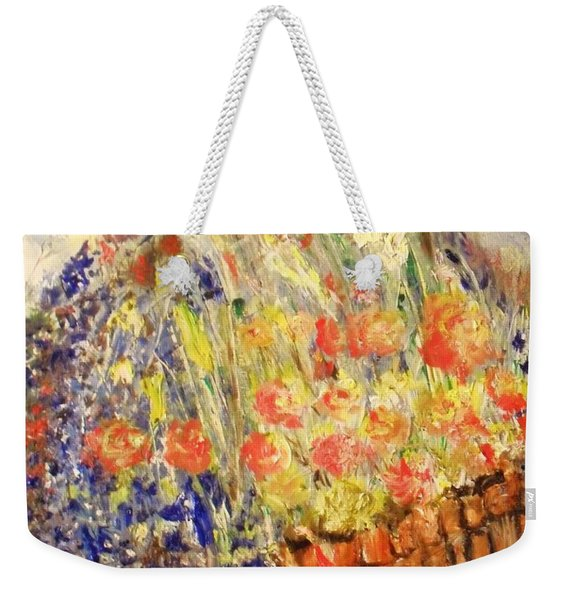 Weekender Tote Bag featuring the painting Adirondack Floral by Laurie Lundquist