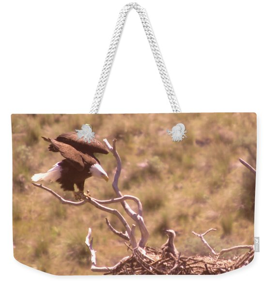 Adult Eagle With Eaglet  Weekender Tote Bag