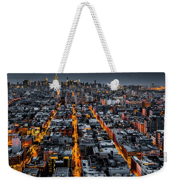 Weekender Tote Bag featuring the photograph Aerial View Of New York City At Night by Mihai Andritoiu