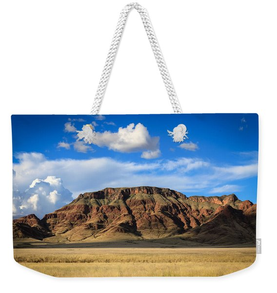 Aferican Grass And Mountain In Sossusvlei Weekender Tote Bag