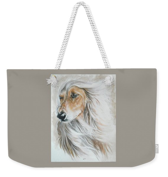 Weekender Tote Bag featuring the mixed media Afghan Hound In Watercolor by Barbara Keith