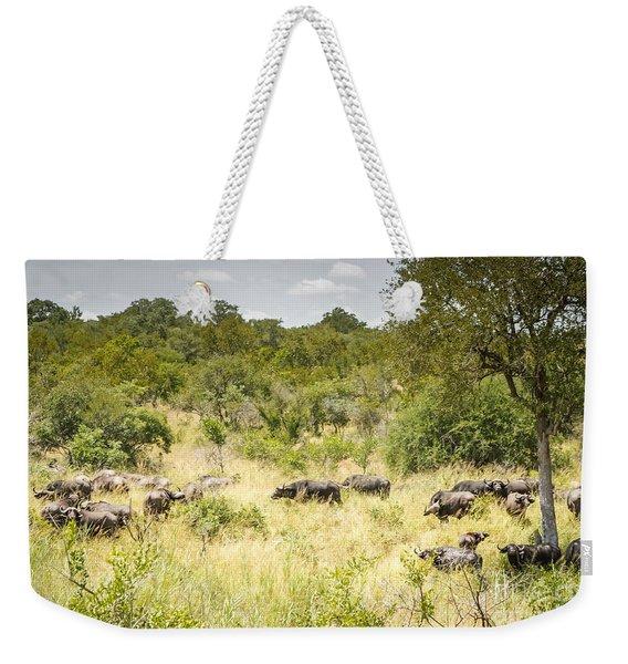 African Buffalo Herd Weekender Tote Bag