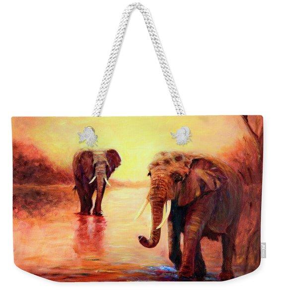 African Elephants At Sunset In The Serengeti Weekender Tote Bag