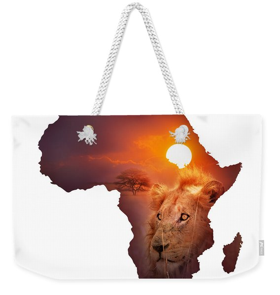 African Wildlife Map Weekender Tote Bag