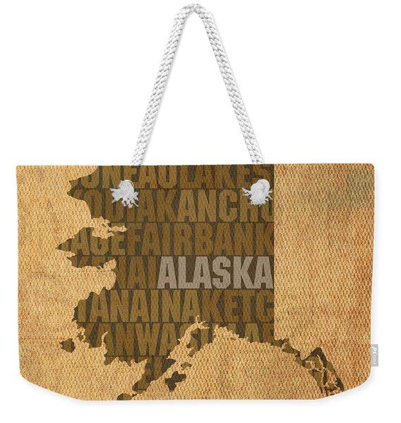 Alaska Word Art State Map On Canvas Weekender Tote Bag