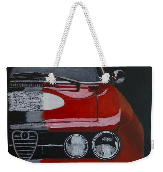 Weekender Tote Bag featuring the painting Alfa Romeo Gtv  by Richard Le Page