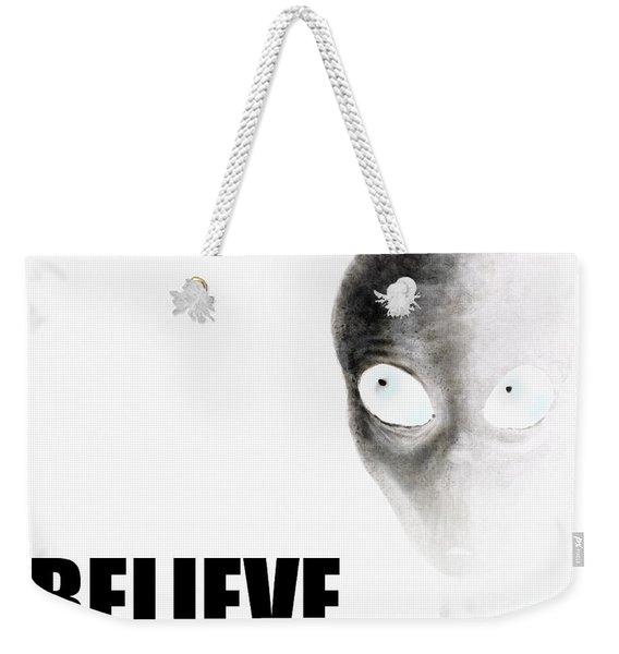 Alien Grey - Believe Inverted Weekender Tote Bag