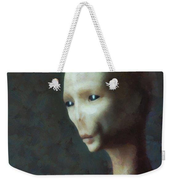 Alien Grey Thoughtful  Weekender Tote Bag