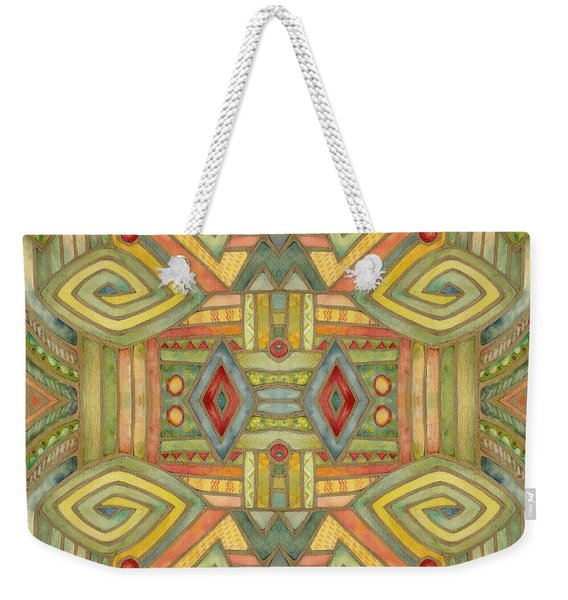 Weekender Tote Bag featuring the painting All About E by Lora Serra