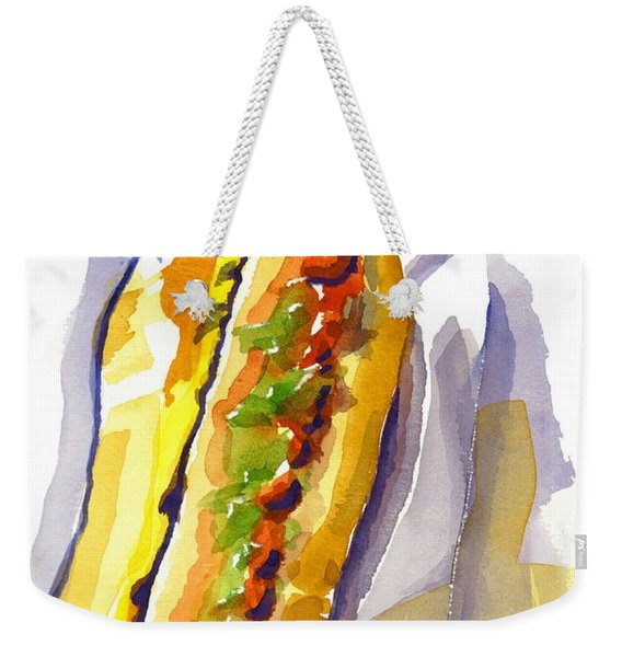 All Beef Ballpark Hot Dog With The Works To Go In Broad Daylight Weekender Tote Bag