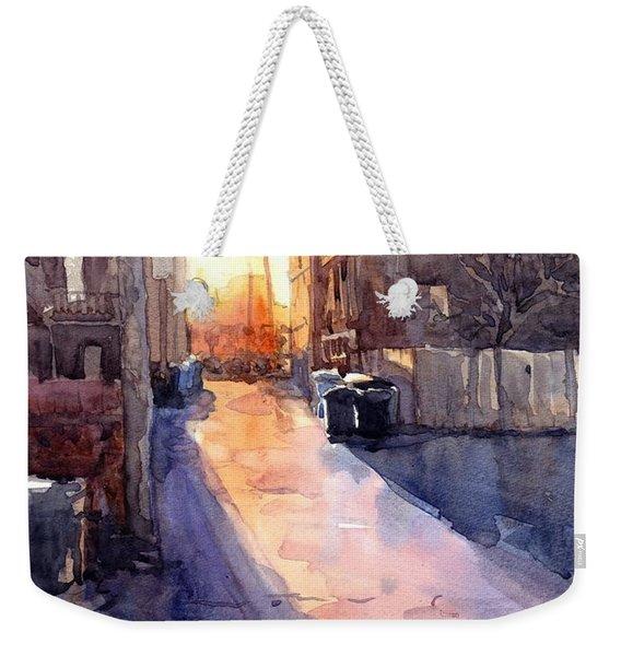 Alley Sunset Weekender Tote Bag