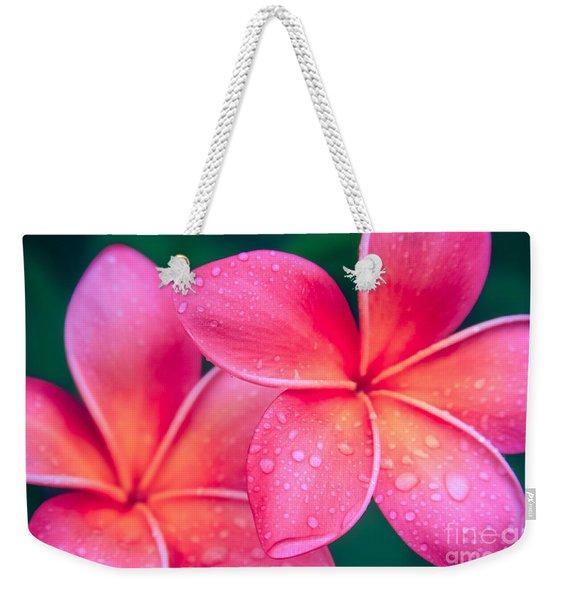 Aloha Hawaii Kalama O Nei Pink Tropical Plumeria Weekender Tote Bag