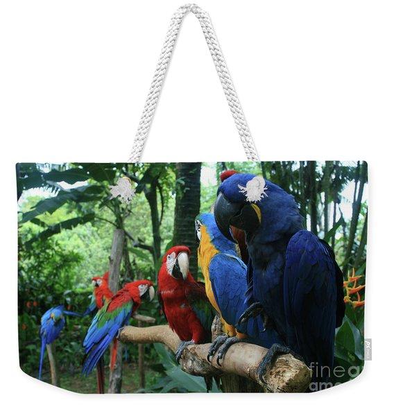 Aloha Kaua Aloha Mai No Aloha Aku Beautiful Macaw Weekender Tote Bag