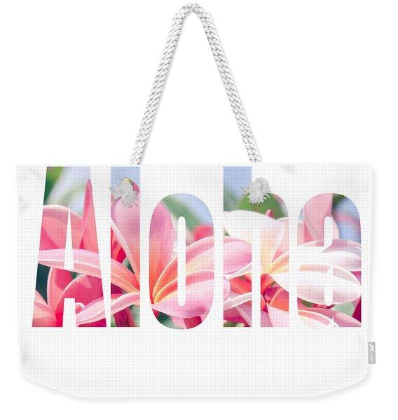 Aloha Tropical Plumeria Typography Weekender Tote Bag