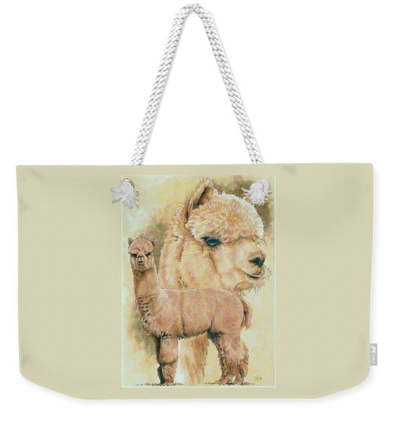 Weekender Tote Bag featuring the mixed media Alpaca by Barbara Keith