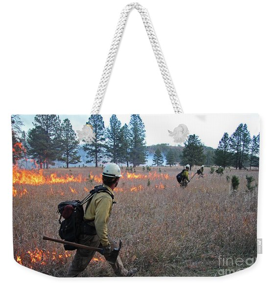 Alpine Hotshots Ignite Norbeck Prescribed Fire Weekender Tote Bag