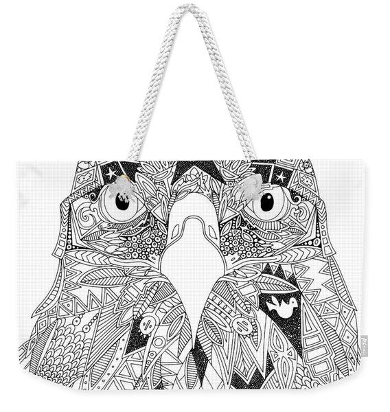 Amarican Eagle Black White Weekender Tote Bag