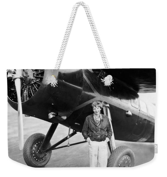 Amelia Earhart And Her Plane Weekender Tote Bag