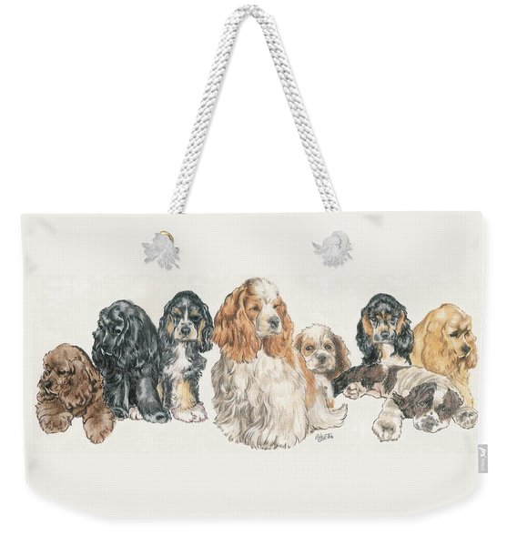 Weekender Tote Bag featuring the mixed media American Cocker Spaniel Puppies by Barbara Keith