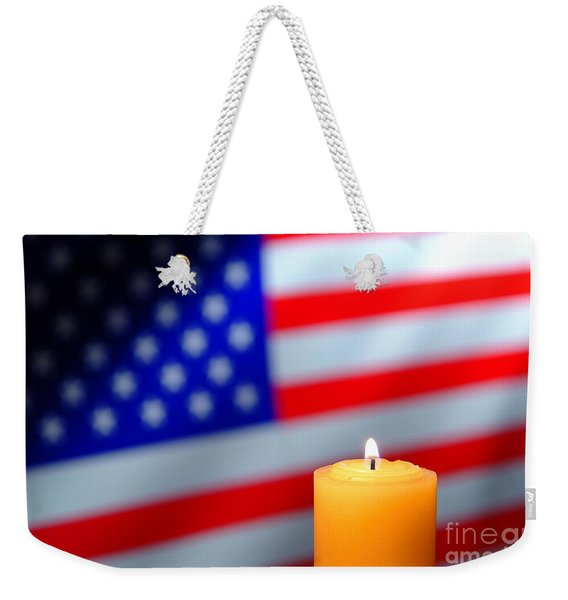 American Flag And Candle Weekender Tote Bag