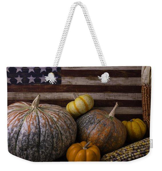 American Flag Autumn Still Life Weekender Tote Bag