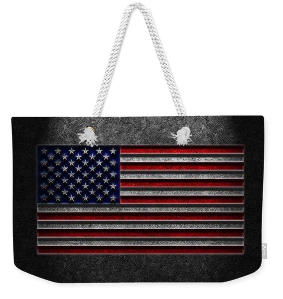 American Flag Stone Texture Weekender Tote Bag