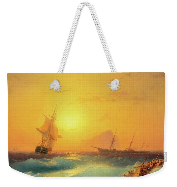 American Shipping Off The Rock Of Gibraltar Weekender Tote Bag
