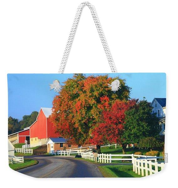 Amish Barn In Autumn Weekender Tote Bag