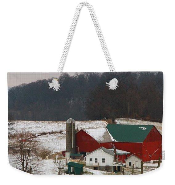 Amish Barn In Winter Weekender Tote Bag